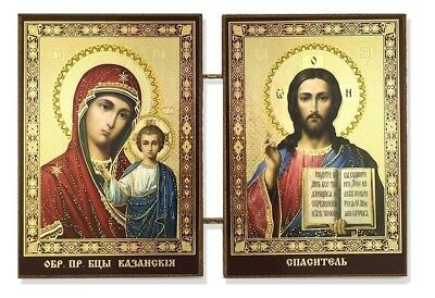 Madonna and Child Icon Diptych Made in Ukraine Christ Virgin of Kazan 3 1/2 Inch
