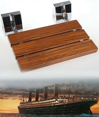 Modern Teak Wood Folding Shower Seat Bench Wall Mounted Solid shower seat