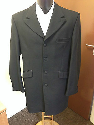 Mens Black Prince Edward Jacket / Morning Coat, 100% Pure Wool, Wedding Etc
