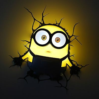 Despicable Me Minions Bob 3D Deco Led Wall Light + Crack Sticker