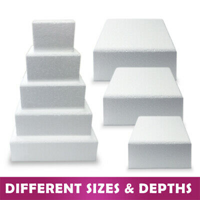 Bevelled Edge Square Cake Dummy - Rounded Edge Chamfered -Polystyrene Sugarcraft