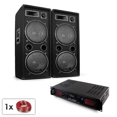"""NEW 1500W 2x 12"""" PA SPEAKER SET BLUETOOTH AMPLIFIER CABLE PACKAGE DISCO DJ PARTY"""