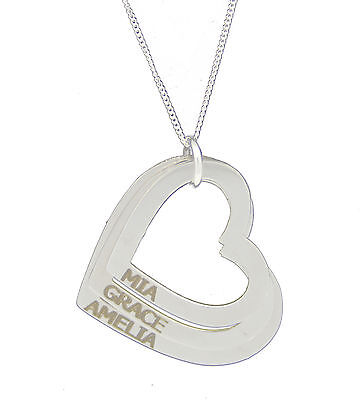 Personalised Engraved Name 925 Sterling Silver Necklace Jewellery Heart Pendant