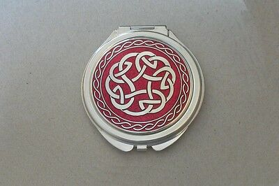 RED Enamel Celtic Knot Compact Mirror made in England