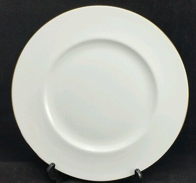 """Set of 5 Queen Anne Dinner Plates 10 5/8"""" Wide, White With Gilt Trim to Rim"""