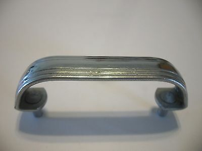 Vtg Chrome Steel Cabinet Door Pull Handle Raised Center Face Stair Stepped Edges