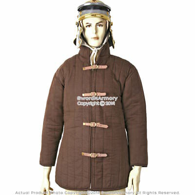 Brown Gambeson Type IV Medieval Padded Armour Combat Coat SCA WMA Jacket