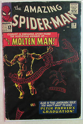 Amazing Spider-Man Issue #28 Silver Age Marvel Comic Book 1960s - 1st Molten Man