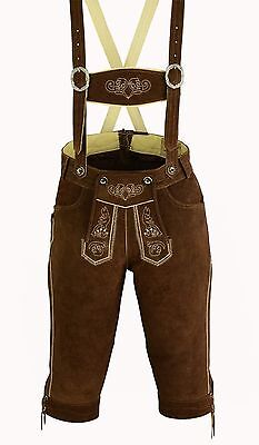 Men's Traditional Garb Bavarian Leather Pants Lederhosen Strap New Dark Brown