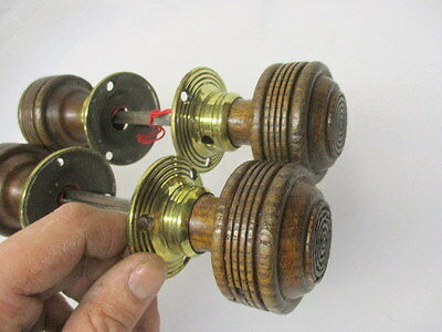 Victorian Wooden Door Knobs Handles Reeded Brass Plates Architectural Antique