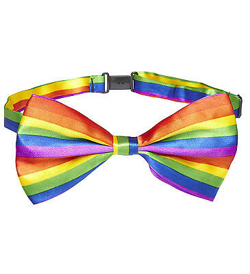 Rainbow Bow Tie Gay Pride Festival Carnival Clown Fancy Dress Accessory