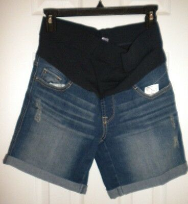 NWT OH BABY by MOTHERHOOD Denim Maternity Shorts Size Small Stressed Effect