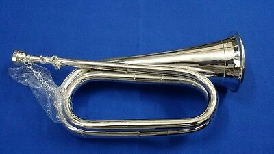 PROFESSIONAL BRITISH ARMY Bb BUGLE SILVER PLATED WITH BLACK SOFT LEATHER CASE
