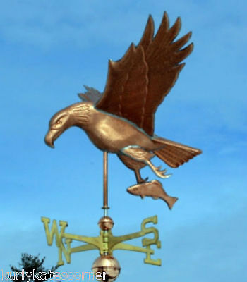 Large Copper Eagle  W/fish  Weathervane W/ Brass Directional Made In  Usa #453