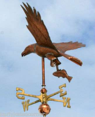 Large Copper Eagle  W/fish  Weathervane W/ Brass Directional Made In  Usa #456