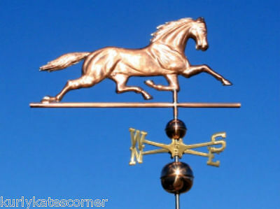 Large Copper Horse Weathervane With Copper Balls And Brass Directionals #426