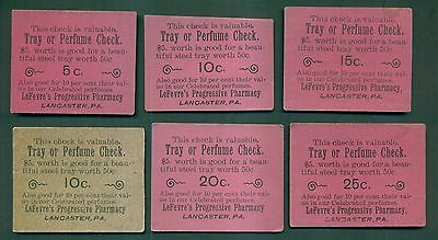 1915 LeFevre's Progressive Pharmacy Perfume Checks - Lancaster,PA