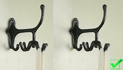Set of 2 Cast Iron SPINNING WALL HOOKS Rustic Metal New antique vintage