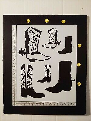 """Cowboy Boots Boot Western Country 8.5"""" x 11"""" Custom Stencil FAST FREE SHIPPING"""