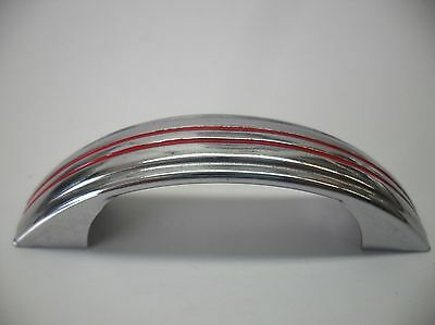 Vtg Chrome Steel Drawer Handles Cabinet Door Pulls Raised Center Face RED Lines • CAD $22.77
