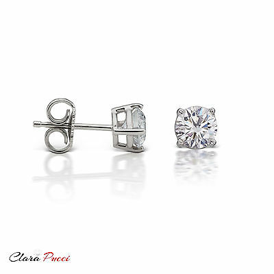 4 CT Round Cut A+ CZ White Sterling Silver Solitaire Stud Earrings Push Back GP