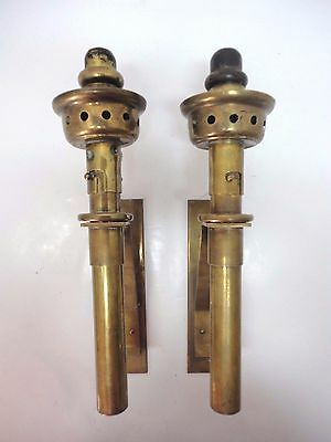 Vtg. Pair of Brass Spring Loaded Wall Sconces Candle Holders Denmark Steampunk