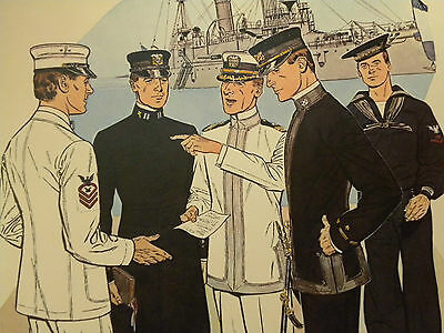 Druck 41 x 51 cm Uniforms of the UNITED STATES NAVY 1900