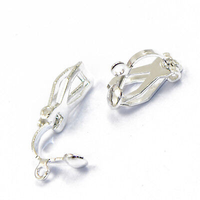 12pcs Clip on Earring Loops Findings Silver White