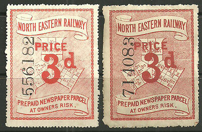 3D X2 Red Large North Eastern Railway Parcel Stamps Mint/unused Different Shades