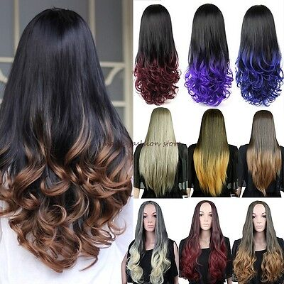 Women Long 3/4 Full Head Wig Fall Clip In Hair Piece Half Natural Curly Straight