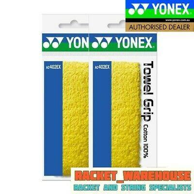 2 x YONEX TOWEL GRIP AC402EX FOR BADMINTON SQUASH TENNIS LIN DAN'S CHOICE YELLOW
