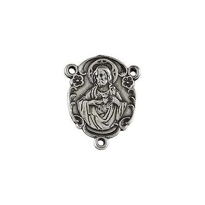 MRT Sterling Silver Sacred Heart of Jesus Oval 17.95x12.9mm Rosary Center Piece