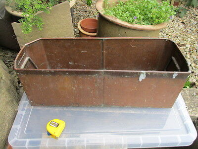 Antique Copper Trough Tub Planter Vintage Garden Plant Pot Salvage Handles 24""
