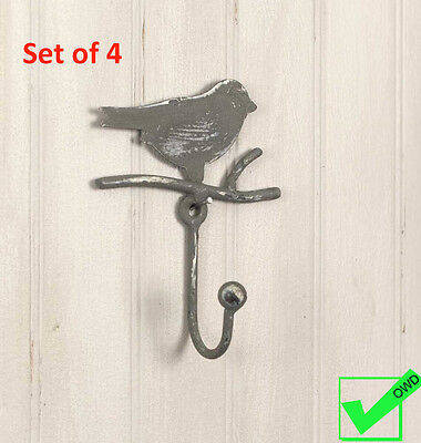 Lot Set of 4 Metal Coat Hat towel robe Bird on Branch WALL HOOKS Rustic vintage