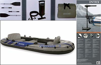 Schlauchboot Excursion 5  Boot +  Paddel + Pumpe + Motorhalterung + Motor Intex
