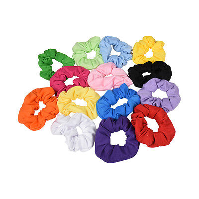 Set of 2 Solid Cotton Scrunchy Hair Ties Pony Holder Scrunchie Ponies No Crease