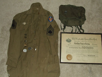 Vintage Lot U.S. Military Items, WWI & WWII - Shirt, Dog Tags, Pins, Bag, Etc.
