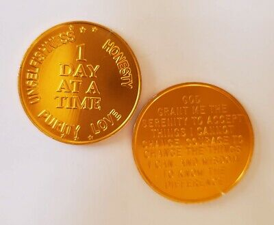 Recovery coins AA 24 Hr Aluminum Medallion token sobriety affirmation birthday G