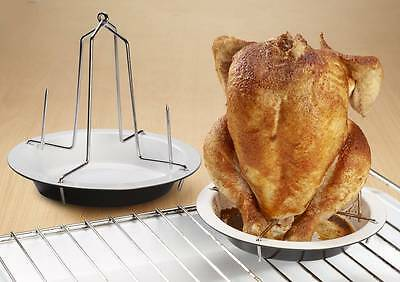 Set of 2 Ceramic Upright Chicken Roasters With Stainless Steel Uprights