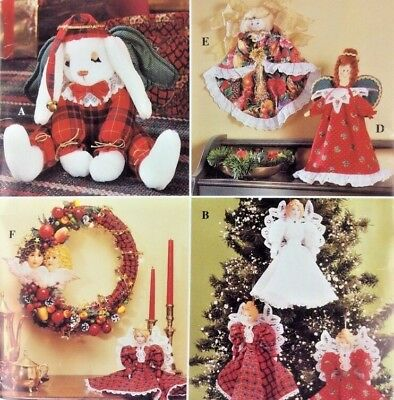 Simplicity Crafts Christmas Angel Tree Topper Wreath Ornaments UNCUT 1990s PA94