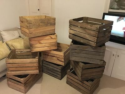 Boxes Vintage Farm Shop Style Wooden Slatted Crate Storage Box Display