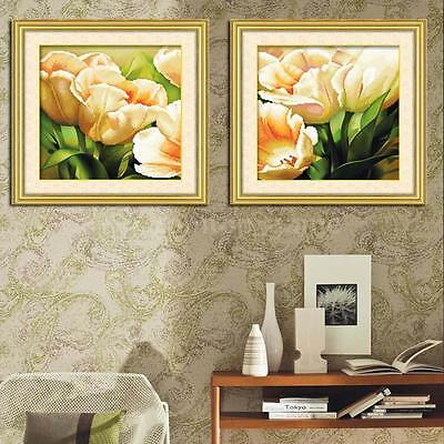 DIY Handmade Printed Beautiful Flowers Cross Stitch Set Embroidery Kit CN L7A9