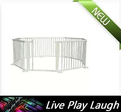 New Kids Baby Toddler Deluxe Wooden Large 8 Panel Playpen Divider - White