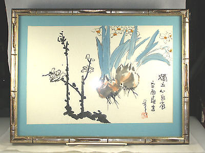 Framed Japanese Painting - JAPANESE ONIONS - Signed