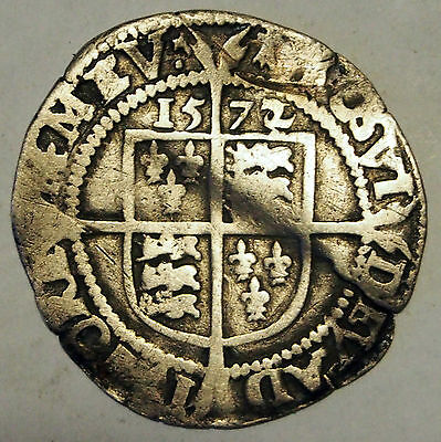 1572 Queen Elizabeth I - Silver Sixpence - Great Britain - Wavy Flan, Clear Date