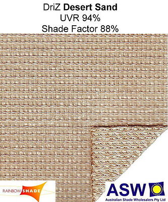 DESERT SAND 3m wide ALL WEATHER SHADECLOTH Commercial DRIZ Rainbow Shade Sail
