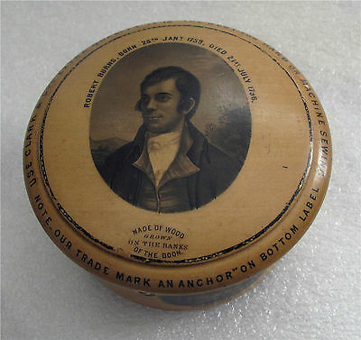 1850'S Victorian Advertising Robert Burns Thread Box Tunbridge Ware