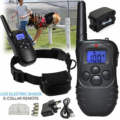 Electric Shock E-Collar Rechargeable LCD Remote Control Dog Training Anti-BarkUK