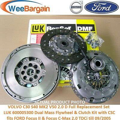 VOLVO C30 S40 II V50 2.0 D LUK 600005300 Dual Mass Flywheel Clutch Kit with CSC
