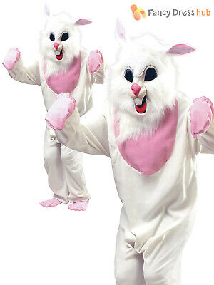 Adult Easter Bunny Fancy Dress Mascot Alice Fairytale Book White Rabbit Costume